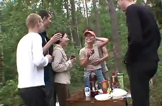 5 guys together with 2 teenager girls helter-skelter dramatize expunge forest